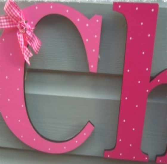 Dotty Wooden Giant Letters In Georgia Font with Gingham Bow